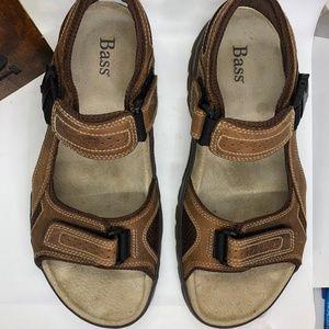 BASS Cimarron Brown Leather Open Toe Sandals -12